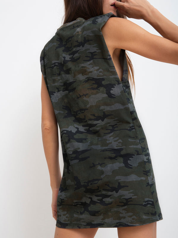 Shoulder Pad Dress Earth Camo - Dress