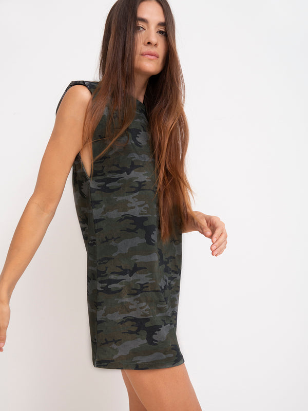 Shoulder Pad Dress Earth Camo