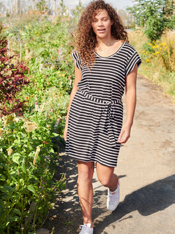Ruby Scoop T-Shirt Dress Black and White Stripe