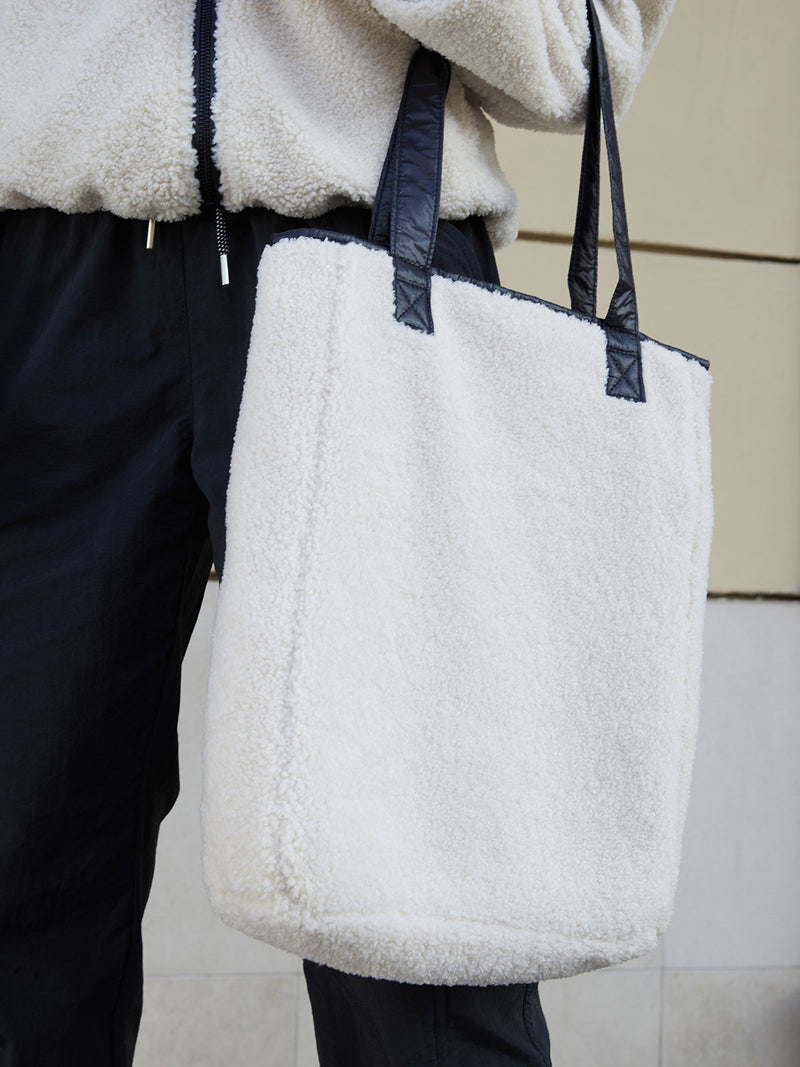 Reversible Sherpa Tote Light Latte Black