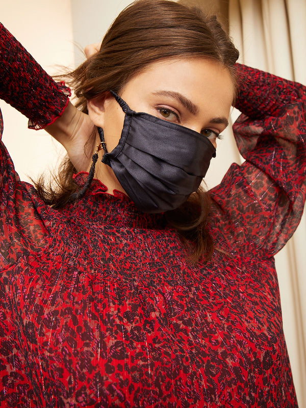 Satin Scrunchie Mask Noir