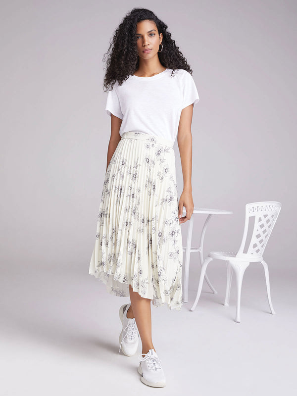 The Summer Pleated Skirt Sketched Floral
