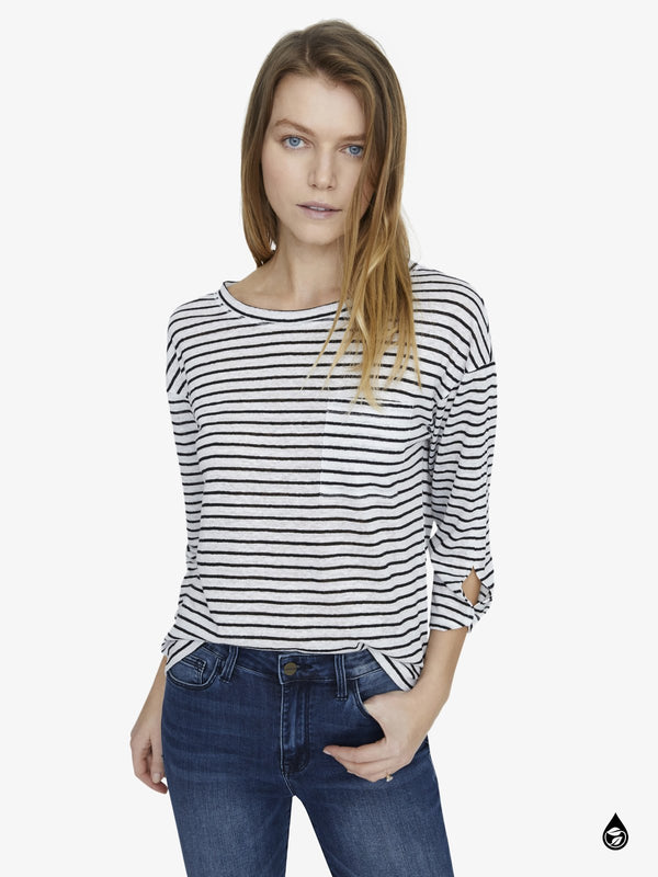 Emmett One Pocket Stripe Linen Tee Classic Stripe