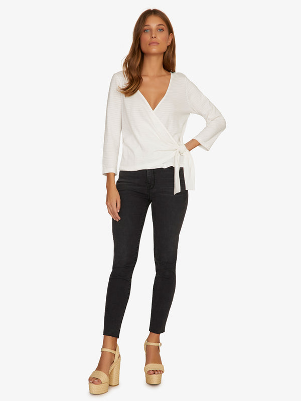 Emelie Textured Wrap Top Brite White