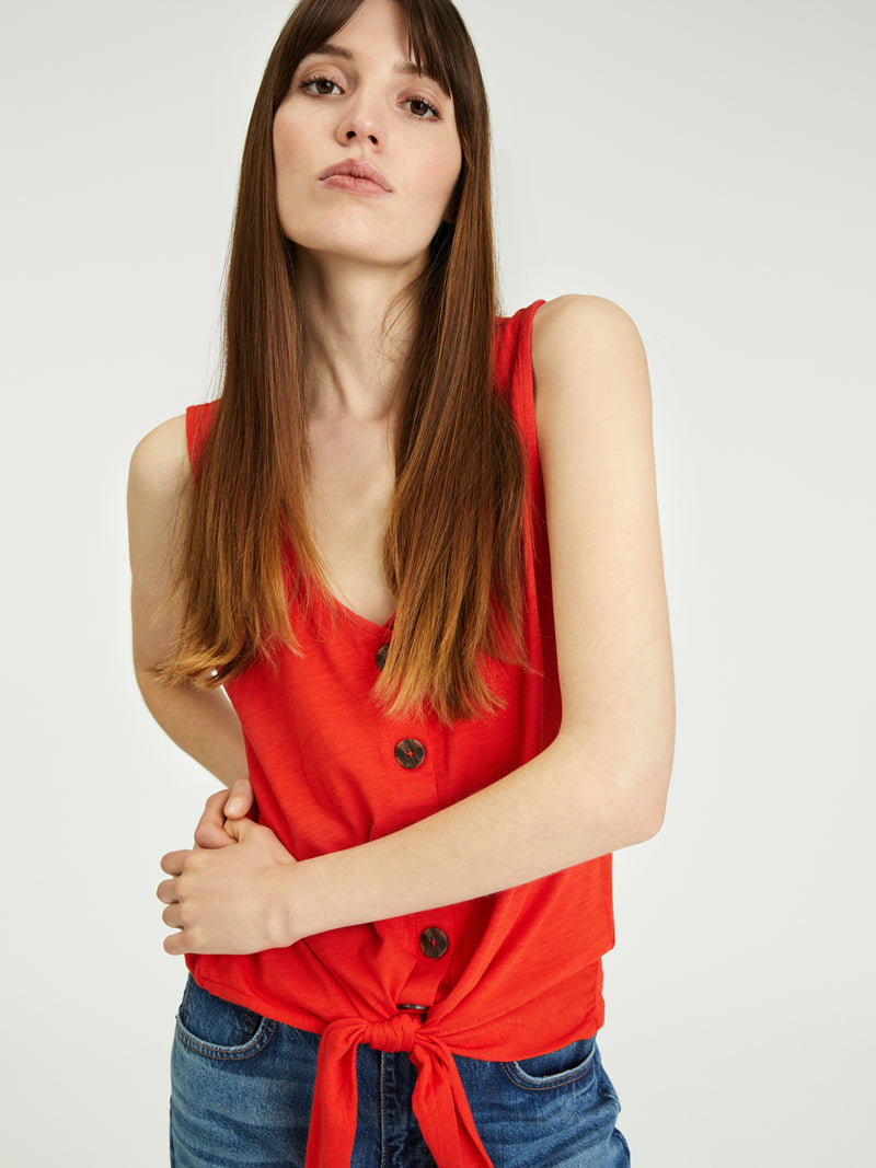 Tie To Keep Up Tee Tulip - Knit Top