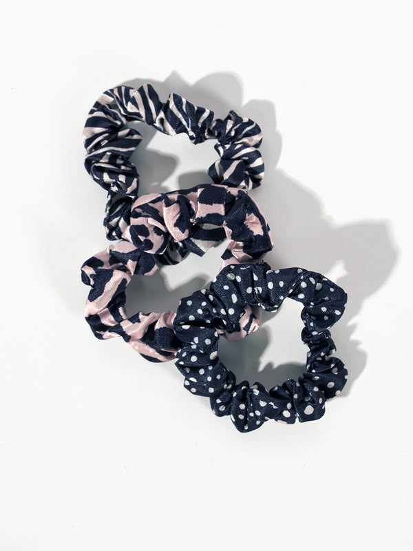 Small Satin Scrunchie 3 Pack - Classy Cat + Abstract Animal