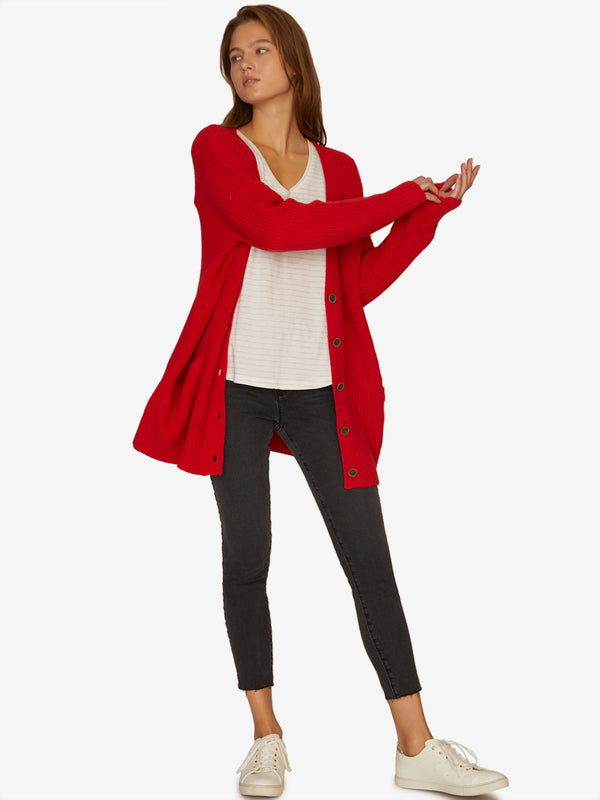 Keep It Cozy Cardigan Poppy Red