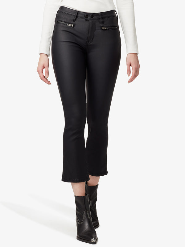 Zip Connector Kick Crop Coated Black