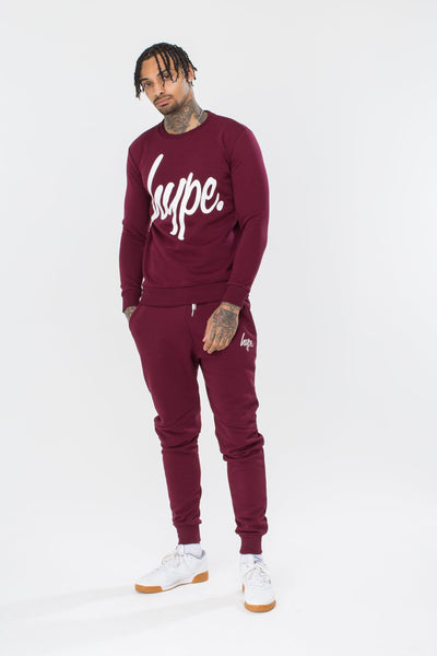 HYPE Men's Crewneck Hype Script Burgundy