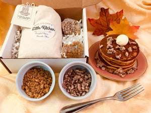 Pumpkin Spice Pancake Mix with Two Specialty Toppings: Toffee and Sugared Pecan