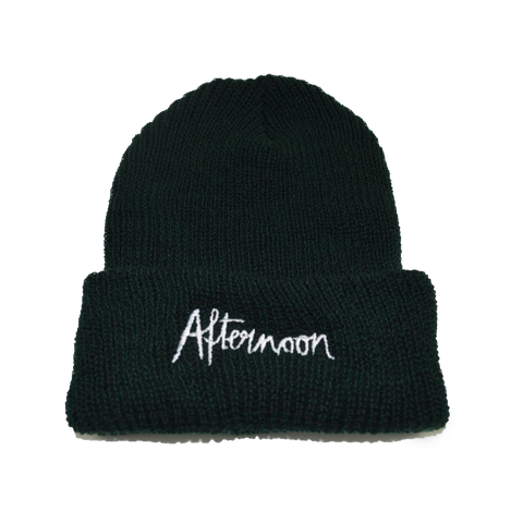 Jagged Script Beanie - Forest Green