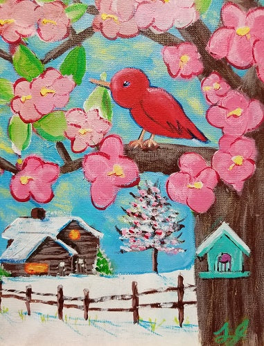 """Red Bird & the Cabin"" Original Painting by Laurie Jarrett"