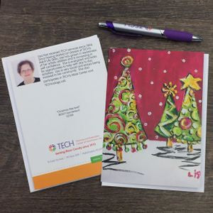 """Christmas Tree Swirl"" Cards by Lisa DeVault"