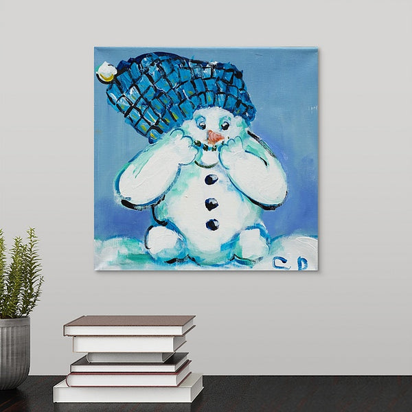 """Aqua the Snowman"" Original Painting by Carissa Dunbar"