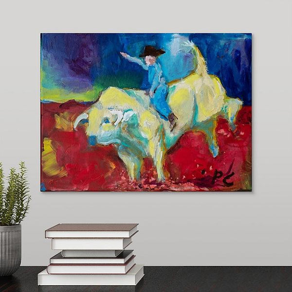 """Bull Rider"" Original Painting by Pam Carey"