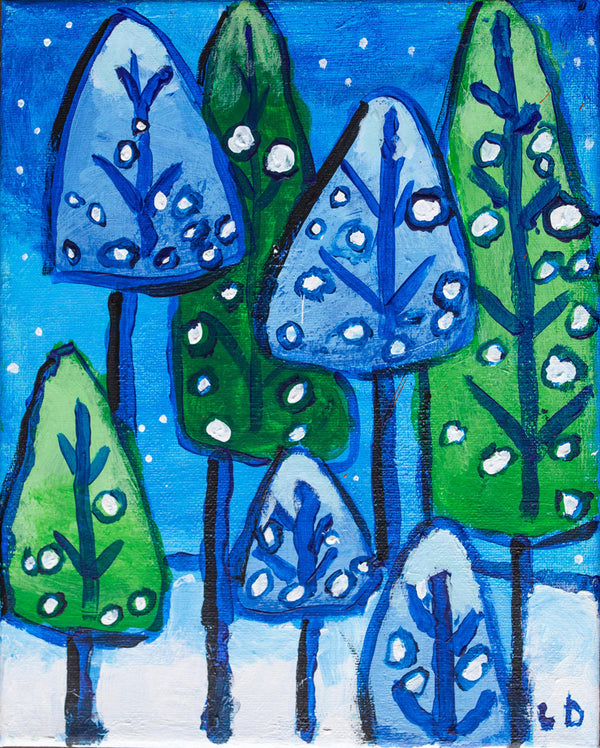 """Christmas Trees with Snow"" Print by Lisa DeVault"