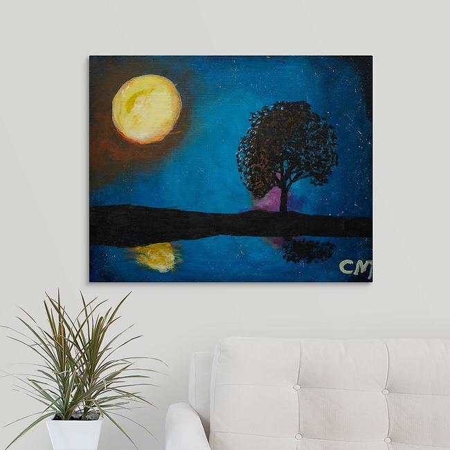 """Moon, Stars, Tree, and Lake"" Print by Casey McLain"