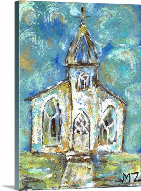 """Old Church on the Hill"" Mini Print by Michelle Zahn"