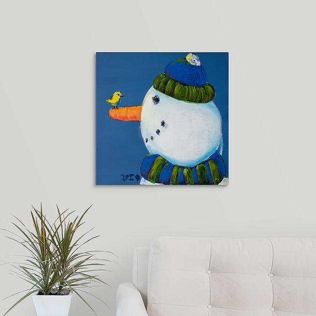 """Snowman and Tree Bird"" Original Painting by Inez Vieyra"