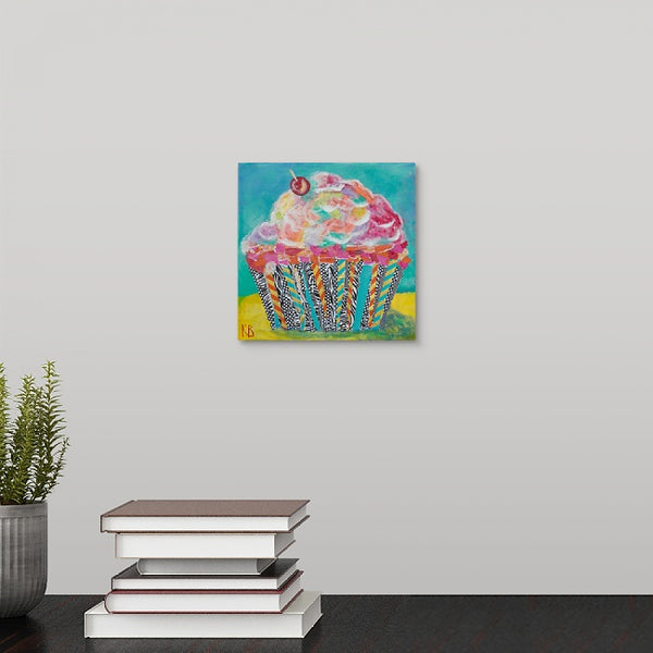 """Strawberry Cupcake with Cherry on Top"" Mini Print by Kelli Bringle"