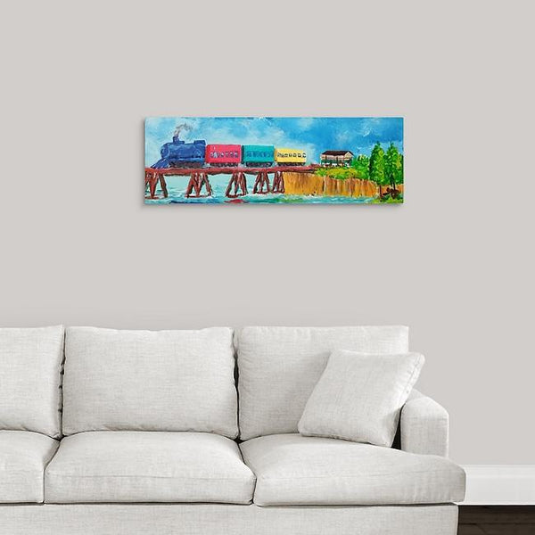 """Summer Train"" Original Painting by Stephanie Drews"