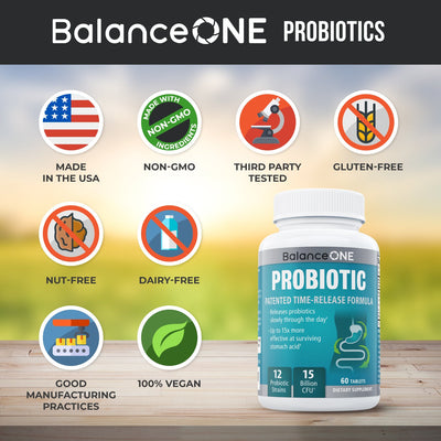 Balance One probiotics are allergen-free, nut-free, lactose-free, GMO-free