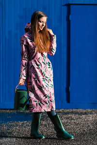 Pink raincoat with Rowan Print / Long skirt