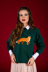 Dark green Sweater with Fox