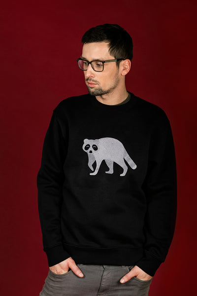 Black Sweater with Raccoon / Unisex