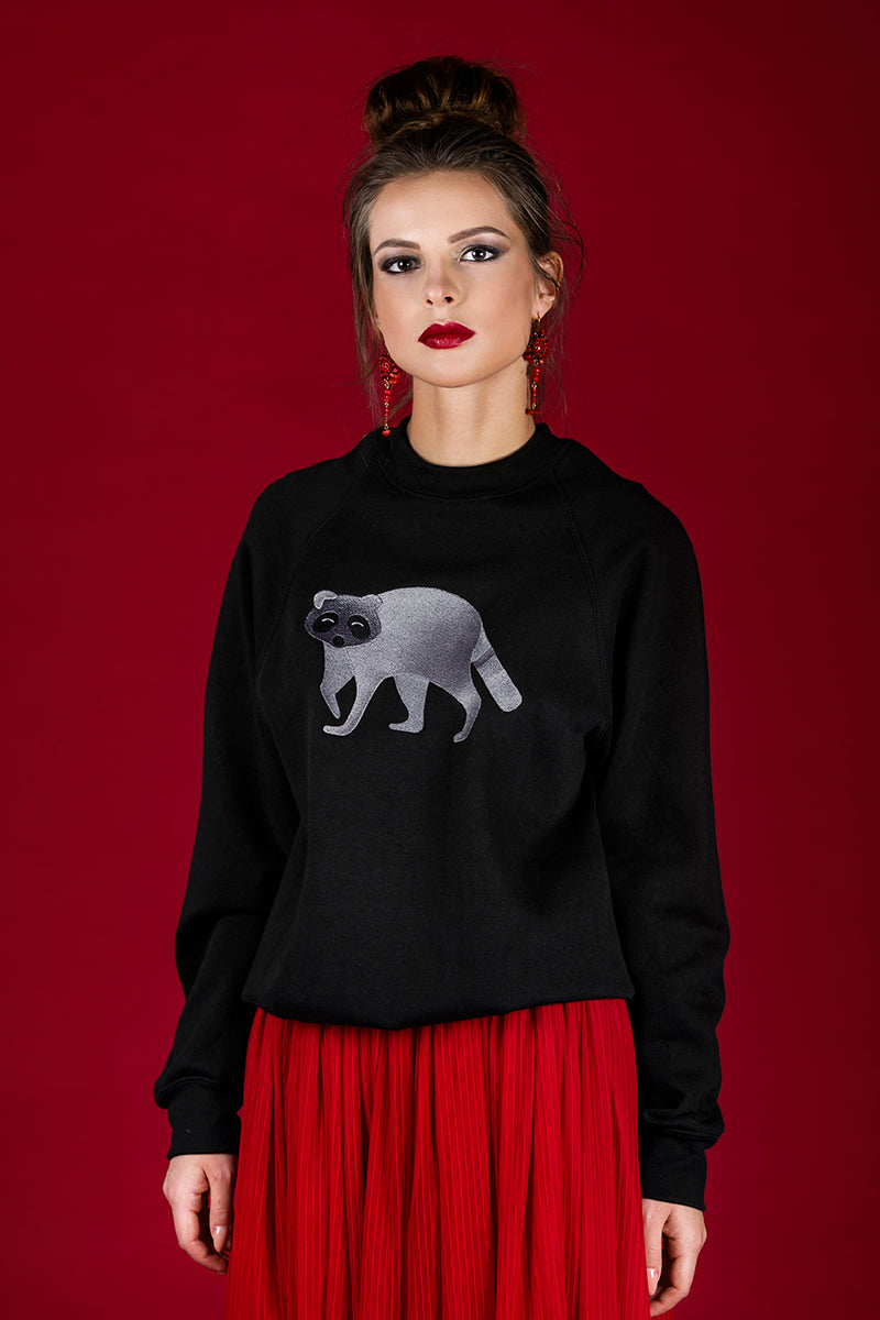 Black Jumper with Raccoon