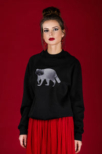 Black Sweater with Raccoon