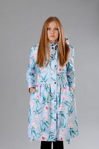 Light Blue raincoat with Flower print / Tale