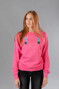 Candy Pink Sweater with Cactus