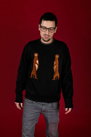 Black Sweater with Suricates/ Unisex