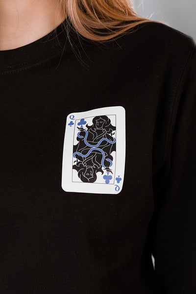 Black Sweater with Queen of Clubs