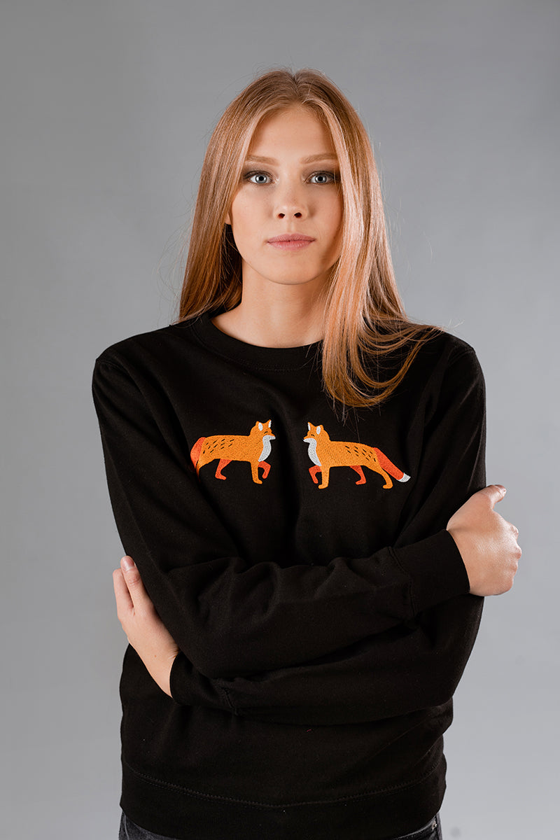 Black Sweater with Foxies