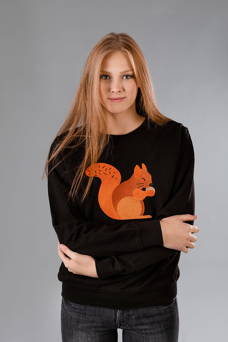 Black Sweater with Squirrel