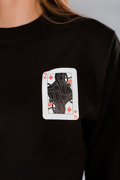 Black Sweater with Queen of Hearts