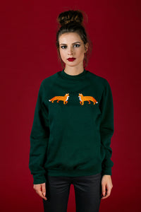 Dark Green Sweater with Foxes