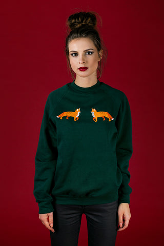 Forest Green Sweater with Foxes