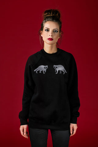 Black Sweater with Raccons