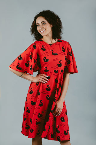 Red Dress with Swan Print