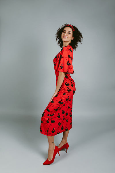 Red dress with swans / Long
