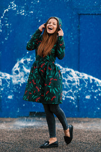 Black raincoat with Rowan Print / Red berries