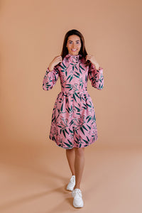 Pink raincoat with Rowan print