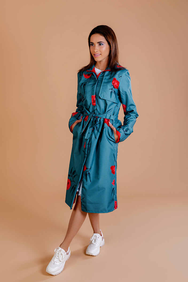 Gray - Green raincoat with Flower Print / Long skirt