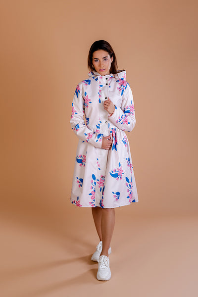 Beige raincoat with Apple Blossoms print