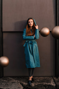 Gray - Green raincoat / Long skirt