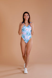 Swimsuit / One piece / Flower print / Light blue colour