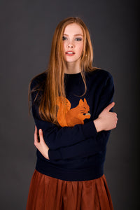 Dark blue Jumper with Red squirrel